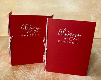Wedding Vow Books set of 2, Always & Forever, Red Holiday Wedding Colors, Personal Custom Vows, Wedding Calligraphy, for my husband wife