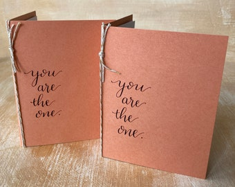 Custom Vow Books set of 2, Orange Fall Autumn Rustic Booklets, You Are the One, his hers ours Personalized Vows, Wedding Calligraphy, gift