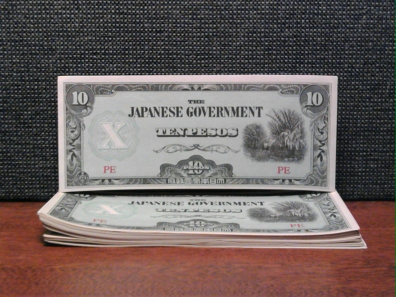 One 1942 Series Japanese Government Issued Philippine 10 Peso Note