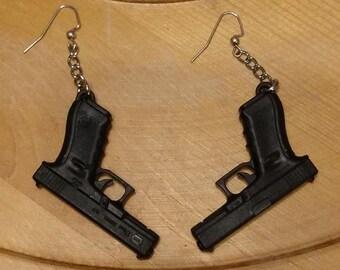Hand Cuffs Bullet Gun Pistol 925 Sterling Silver Earrings Hook Dangle Drop