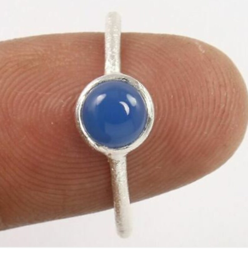 BLUE CHALCEDONY Silver Ring925 Silver RingCocktail RingBlue color RingMarch BirthstoneHandmade ringSmall Silver Ring Women