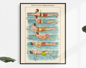 """Vintage Art Print """"The Swimmers"""", Din A4 up to Poster Size"""
