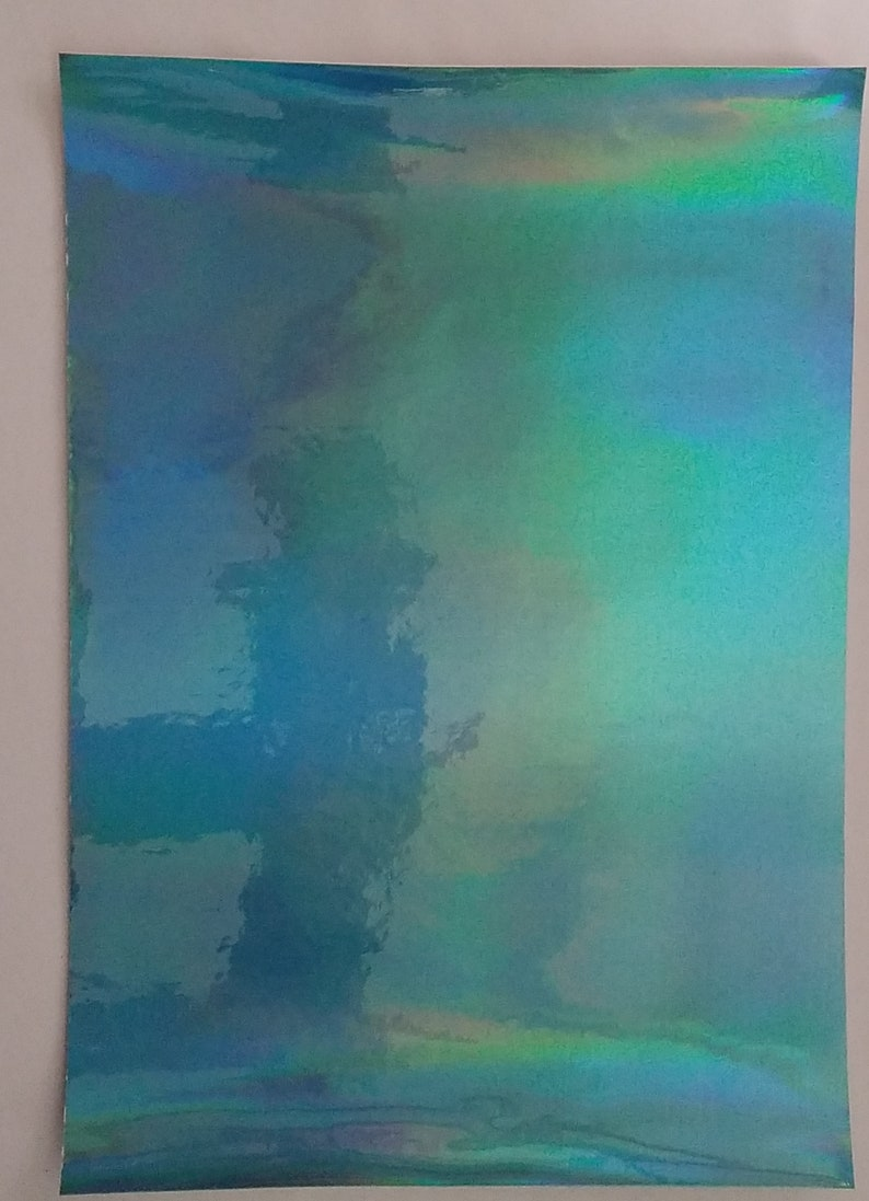Holographic blue faux leatherSolid21 x 30 cm faux leather sheets sheetSynthetic leather