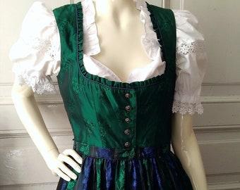 tyrolean  folk dress German Austrian dress dirndl trachten Oktoberfest Gorgeous vintage dirndl dress green checkered dress prairie