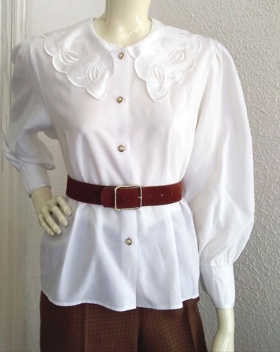 80s statement blouse sailor floral embroidery col… - image 8