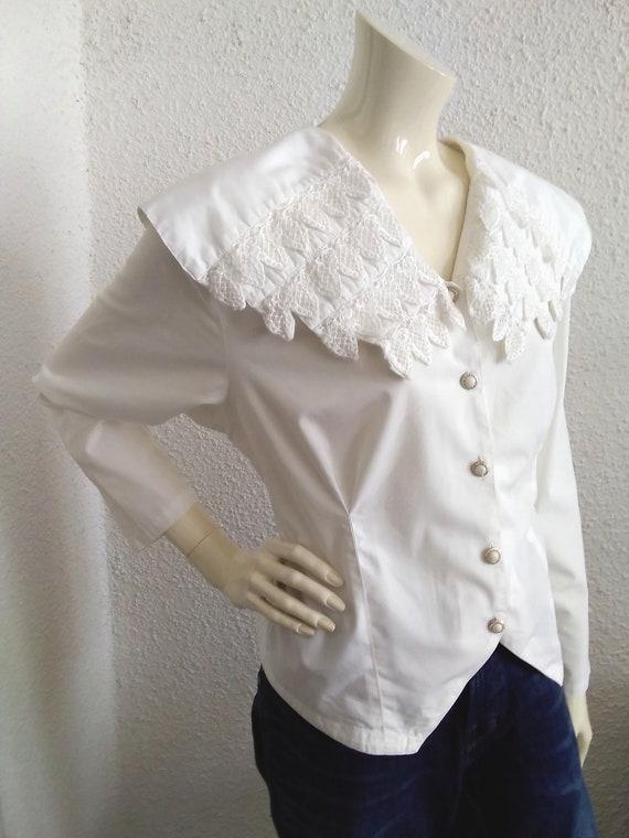 80s blouse big puritan lace collar long sleeve st… - image 10