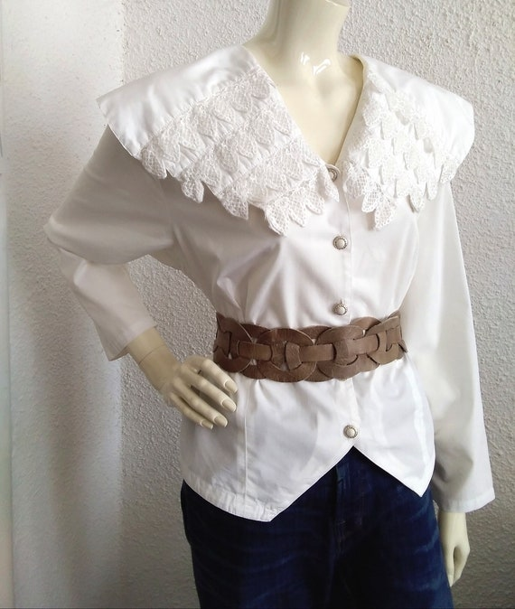 80s blouse big puritan lace collar long sleeve st… - image 6