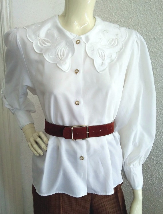 80s statement blouse sailor floral embroidery col… - image 2
