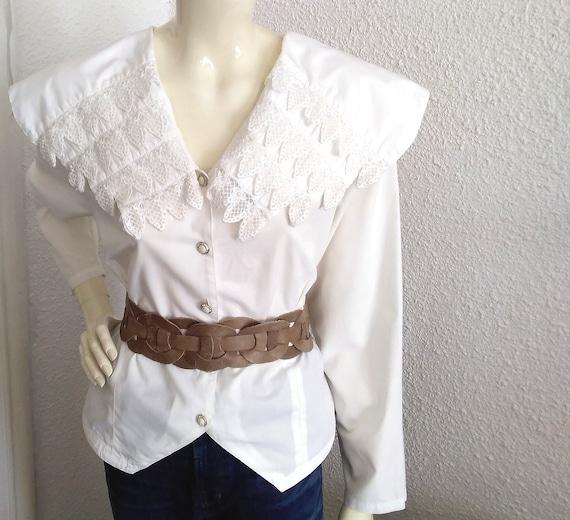 80s blouse big puritan lace collar long sleeve st… - image 2