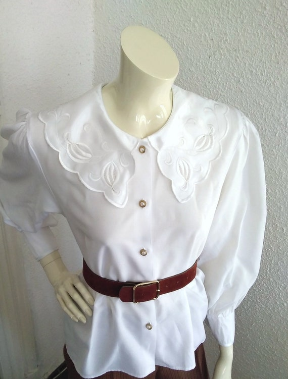 80s statement blouse sailor floral embroidery col… - image 3