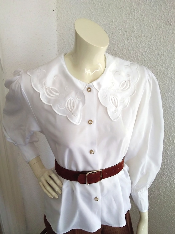 80s statement blouse sailor floral embroidery col… - image 4