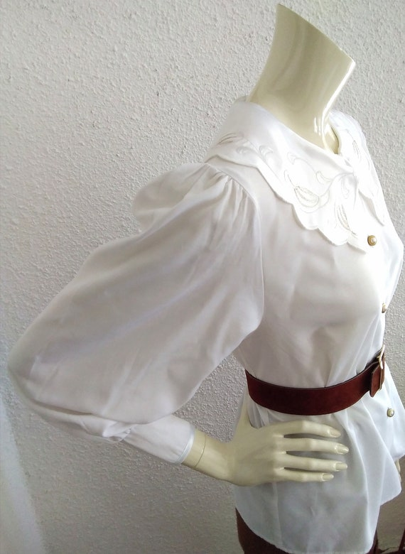 80s statement blouse sailor floral embroidery col… - image 5