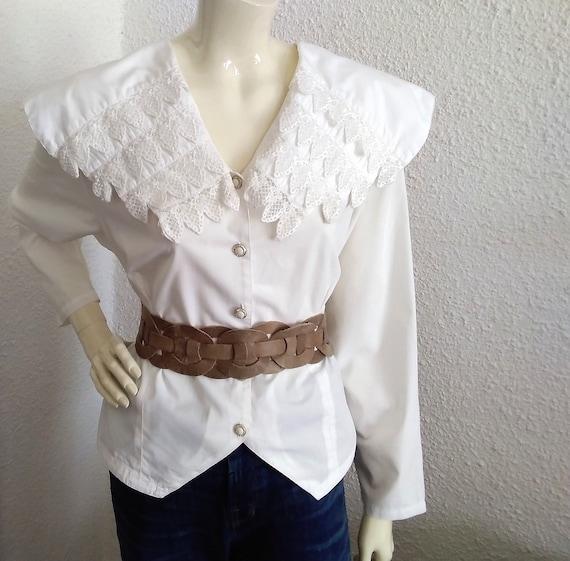 80s blouse big puritan lace collar long sleeve st… - image 1