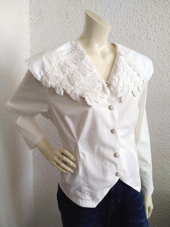 80s blouse big puritan lace collar long sleeve st… - image 3