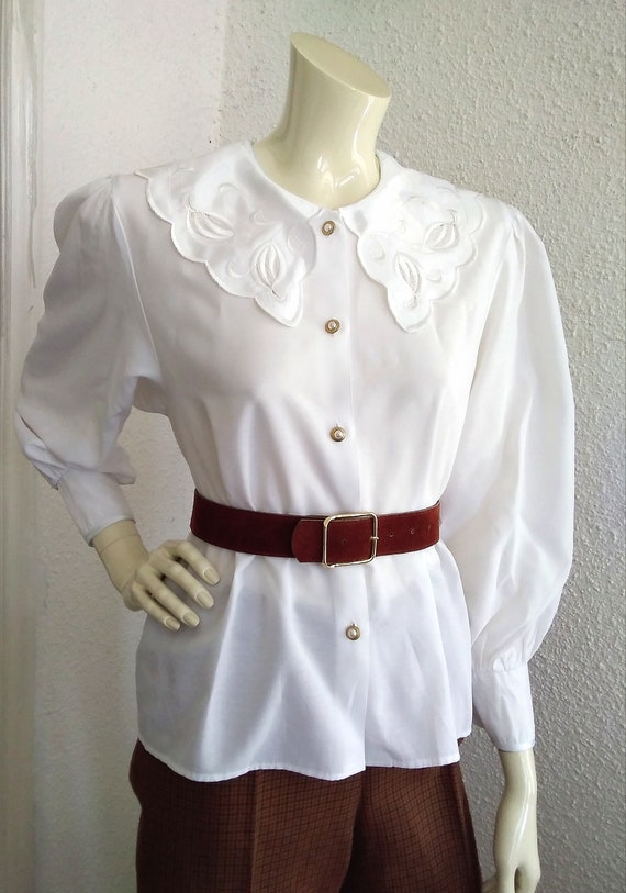 80s statement blouse sailor floral embroidery col… - image 1