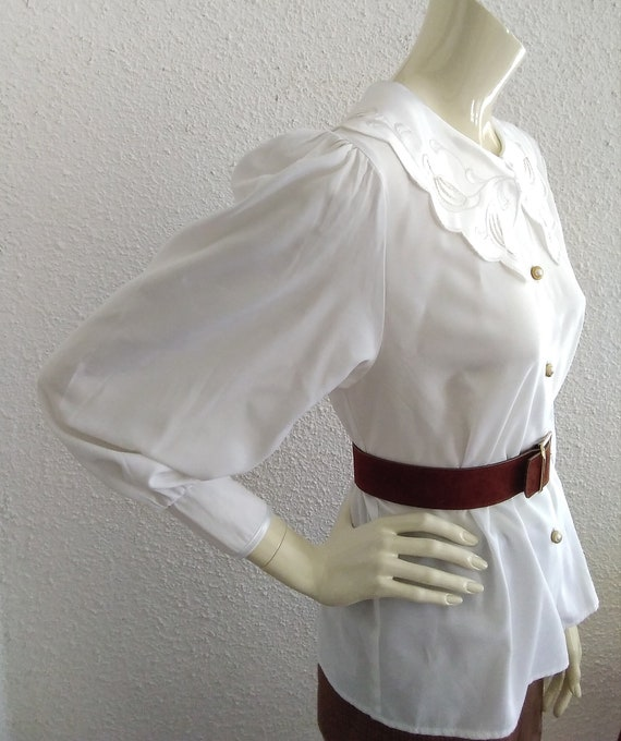 80s statement blouse sailor floral embroidery col… - image 7