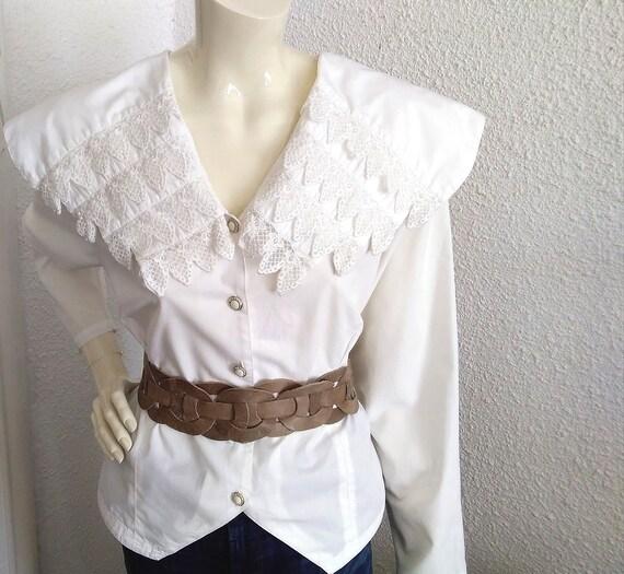 80s blouse big puritan lace collar long sleeve st… - image 7