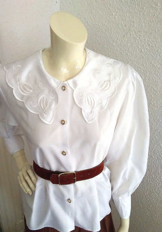 80s statement blouse sailor floral embroidery col… - image 6