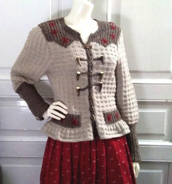 80s folk cardigan brown floral embroidery cardigan