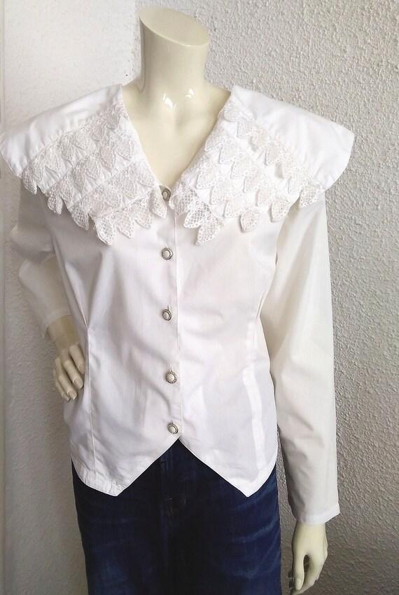 80s blouse big puritan lace collar long sleeve st… - image 4