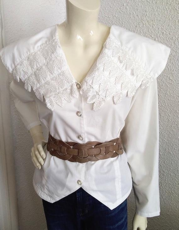 80s blouse big puritan lace collar long sleeve st… - image 8