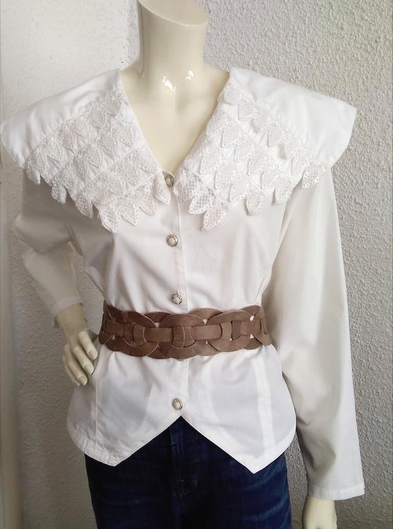 80s blouse big puritan lace collar long sleeve st… - image 9
