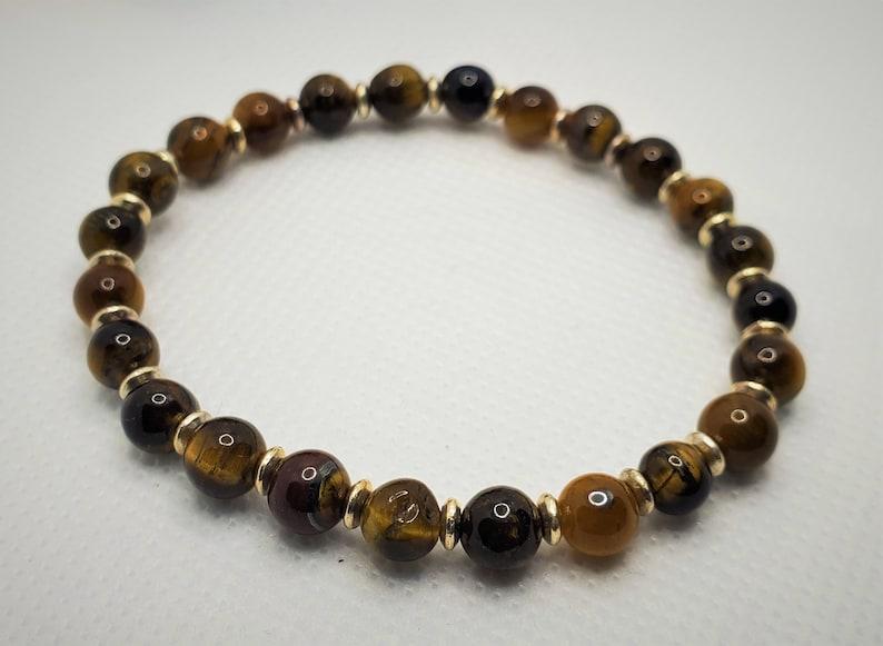 Unisex Protection Stone Stones for Prosperity Healing Crystal Tiger Eye Gemstone Bead Bracelet Lucky Stone Stones for Confidence