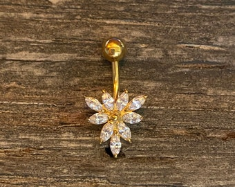 belly stud CZ indian belly banana UK flower belly ring gold belly bar,barbell stud body jewellery Geometric belly bar cartilage