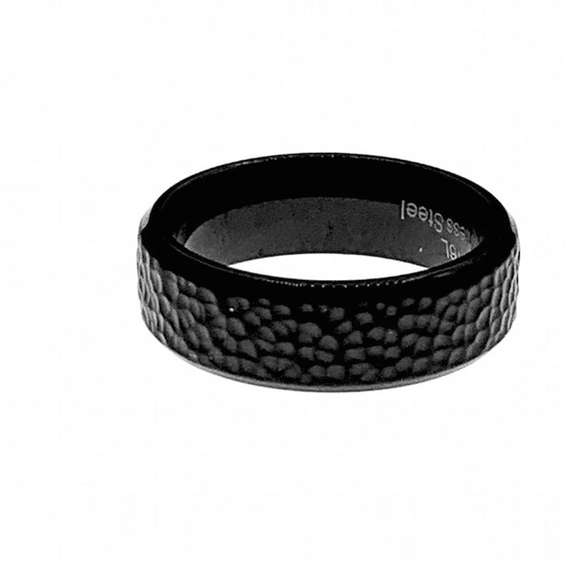 men\u2019s gift UK Men/'s jewellery Black steel ring Black ring boyfriend organic shaped skater Stainless steel premium Men/'s ring