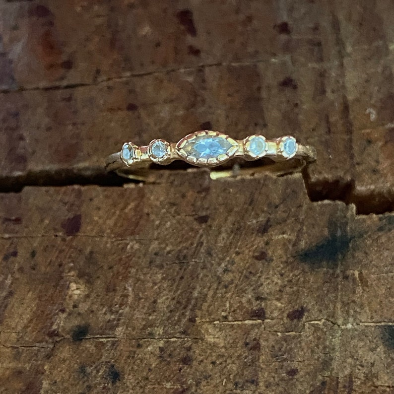 Solid 14K gold ring gold ring with CZ anniversary CZ ring engagement ring stackable ring gift gold ring dainty gold ring premium