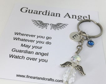 12 Pieces Akamino Angel Keychain with Birthstone Memorial Keyring Keyfob for Men and Women Kids Gift