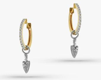 Spike Earrings / 14K Solid Gold Diamond Hoop Earrings / Fine Jewelry