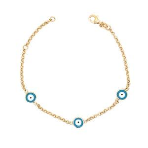 Evil Eye Bracelet  14K Solid Gold Evil Eye Bracelet  Blue and White Enamel Evil Eye  Mothers Day Gift  Dainty Layering Evil Eye