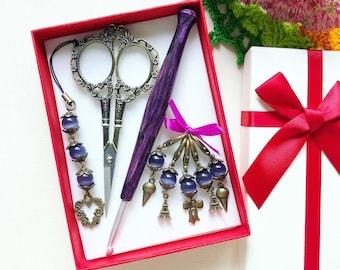 Knitting kit, Gift for crocheter, Wooden crochet hook, Crochet lover gift, Yarn lover gift, Crochet kit in gift box, Handmade supplies