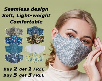 Face mask, reusable with filter pocket - Machine washable cotton mask - Two layer mask - Bulk quantity available