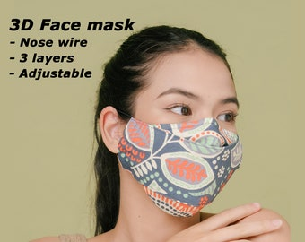 3D Face Mask   3-Layers   Nose wire   Anti Fog Mask for Glasses   Premium Cotton Fabric