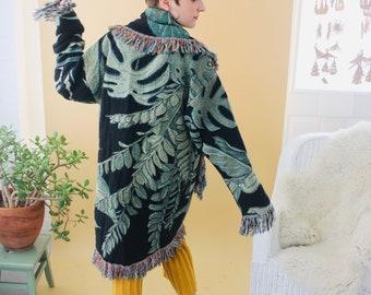Houseplant Blanket Coat | Cotton Afghan Throw Tapestry Jacket Robe Blancoat Cardigan Lounge Fringe Oversized OOAK OSFM Small Medium Large