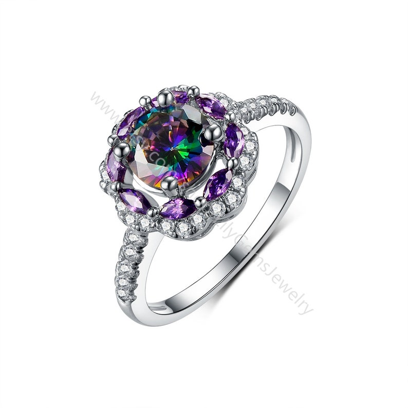 Mystic Rainbow Topaz Halo Art Deco Engagement Ring white gold plated jewelry,CZ Simulated Diamond ring cubic zircon jewelry for women L527