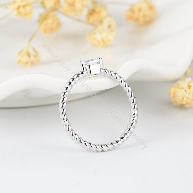 Stackable Ring Skinny Ring,Anniversary Gift L502 cubic zircon jewelry Simple Ring Thin Square CZ Ring white gold plated Simple CZ Ring