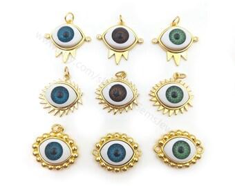 5pcs Evil Eye Connector, Evil Eye Pendant, Good Luck Charms Evil Eye Jewelry Turkish Evil Eye, Talisman Jewelry, Gold Evil Eye Y135