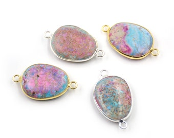 Sea Sediment Jasper Natural Imperial Gemstone Gold Edge Oval Bracelet Connector,Emperor Stone Pendant Necklace Charms Jewelry Crafts G165