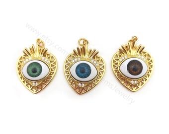 5pcs CZ Heart Shape Evil Eye Earring Charms, Raw Brass Heart Evil Eye Pendant, Earring Findings, Jewelry Supplies Y137