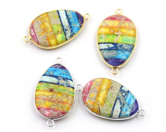 7 Chakra Multi Natural Emperor Stone Oval Shape Slice Slab Connector Necklace Beads, Rainbow Imperial Jasper Gold/Silver Plated Edge G163