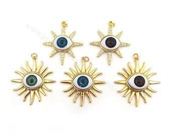 5/10pcs Micro CZ Pave Evil Eye, Evil Eye Pendant, Good Luck Charms Evil Eye Jewelry Turkish Evil Eye, Talisman Jewelry, Gold Evil Eye Y133