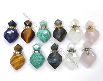 Natural Gemstone Essential Oil Diffuser Quartz Perfume Bottle Pendants Labradorite Amazonite Jewelry Charm Vials For Necklace Making G586
