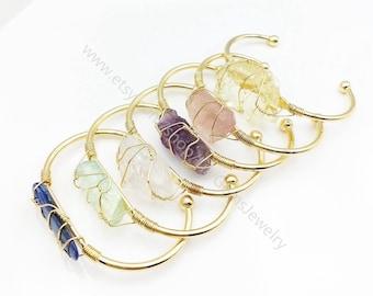 Crystal Quartz Cuff Bracelet, raw crystal kyanite amethyst rustic jewelry,wedding bridal jewelry, wire wrap bracelet, gift for her L135