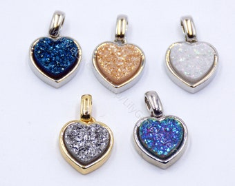 Heart shape Agates Druzy Geode Pendant multi color druzy gemstone gold /silver plated setting drusy jewelry High Quality charms  L421