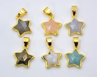 Natural Gemstone Star Pendant Women's Simple Jewelry Findings Gold plating Accessories amethysts malachite pyrite quartzs charms L240
