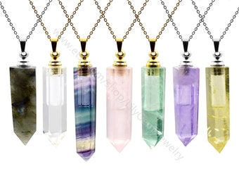 Natural Gemstone Perfume Bottle pendant, Essential Oil Bottle diffuser ,pointed Fluorite amethyst crystal Jewelry , Hexagon prism vials L701
