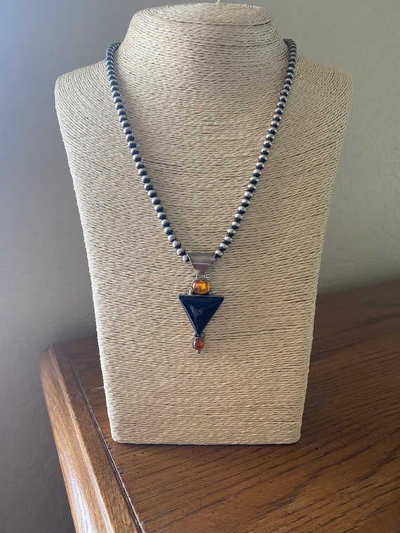 1970's-era Navajo Onyx, Amber, and Citrine Pendant on Oxidized Sterling Silver Bead Necklace